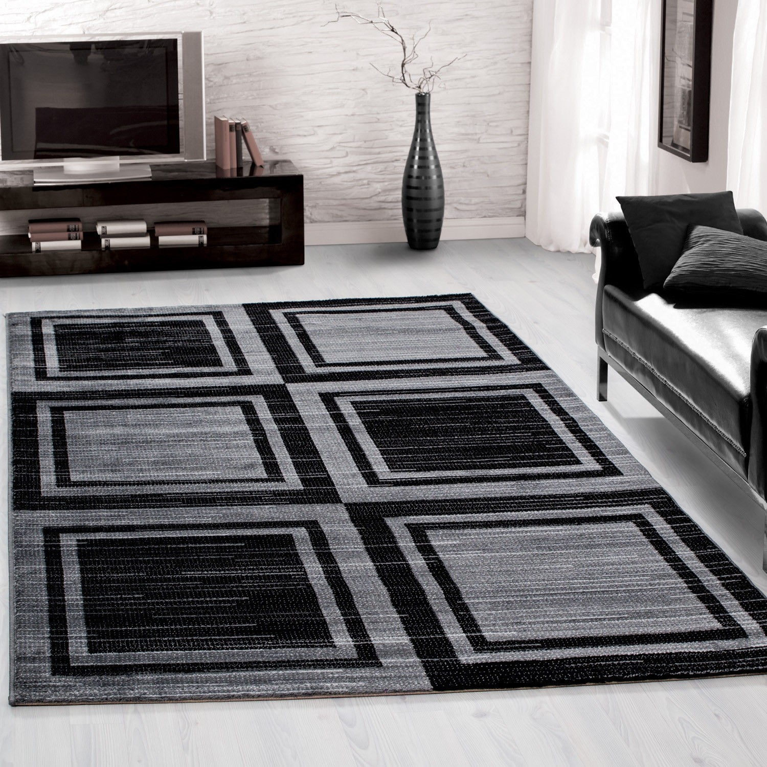 tapis tendance vintage rouge gris madison. Black Bedroom Furniture Sets. Home Design Ideas
