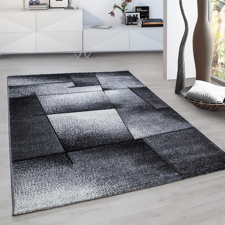 tapis fris233e effet 3d design moderne salon gris noir harlequin