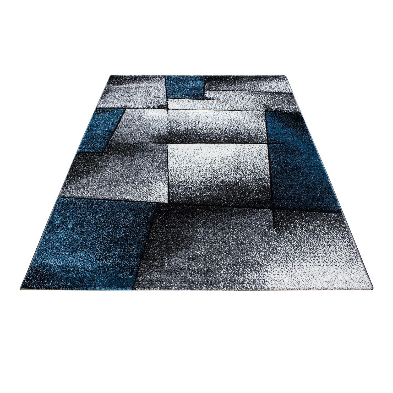 Tapis fris e effet 3d design moderne blue turquoise gris for Tapis turquoise gris
