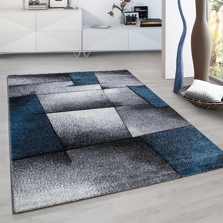 Tapis fris e effet 3d design moderne blue turquoise gris - Tapis design salon ...