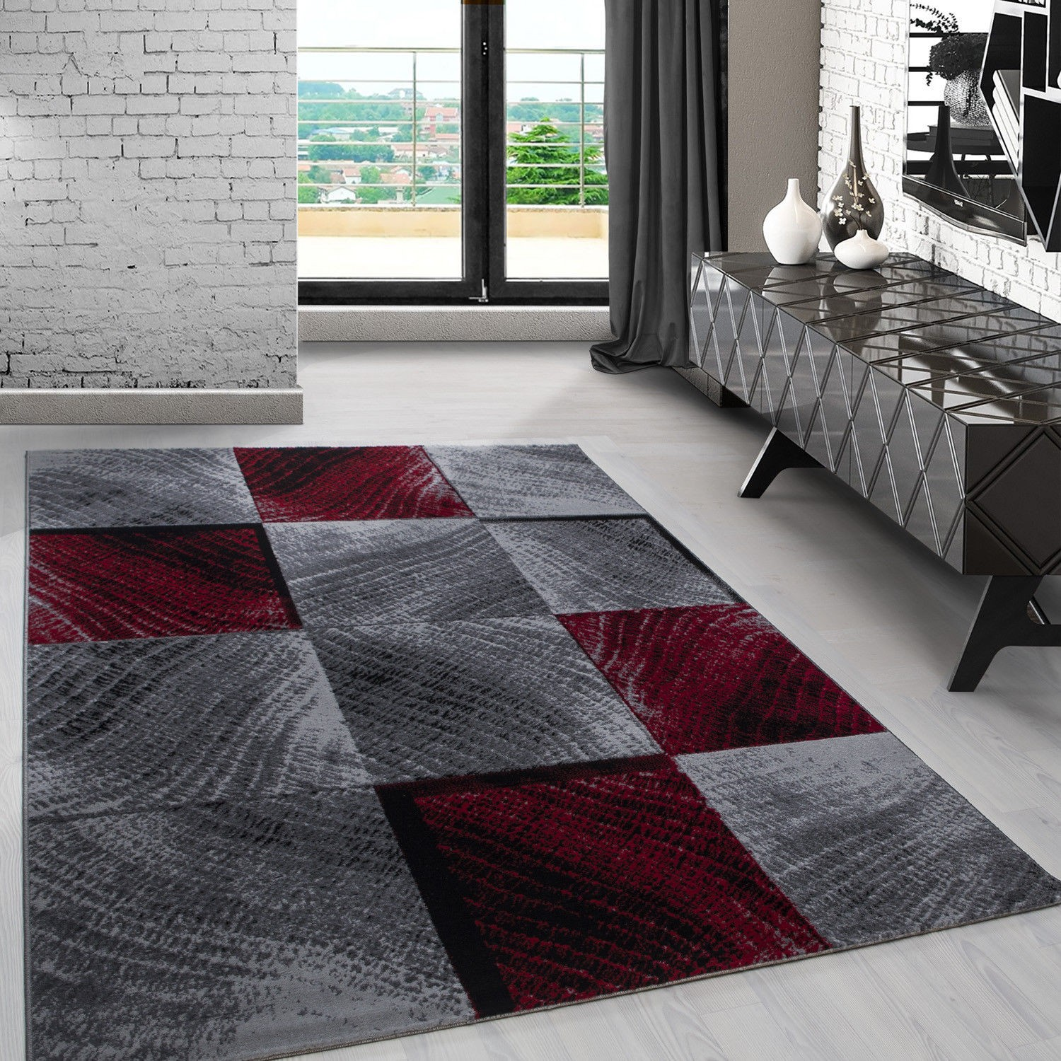 tapis contemporain argent rouge en polypropyl ne markus. Black Bedroom Furniture Sets. Home Design Ideas