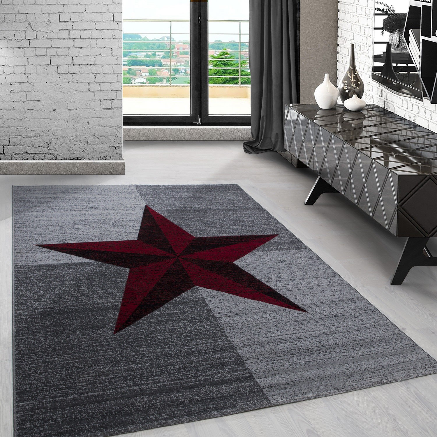 tapis contemporain gris et rouge en polypropyl ne markus. Black Bedroom Furniture Sets. Home Design Ideas