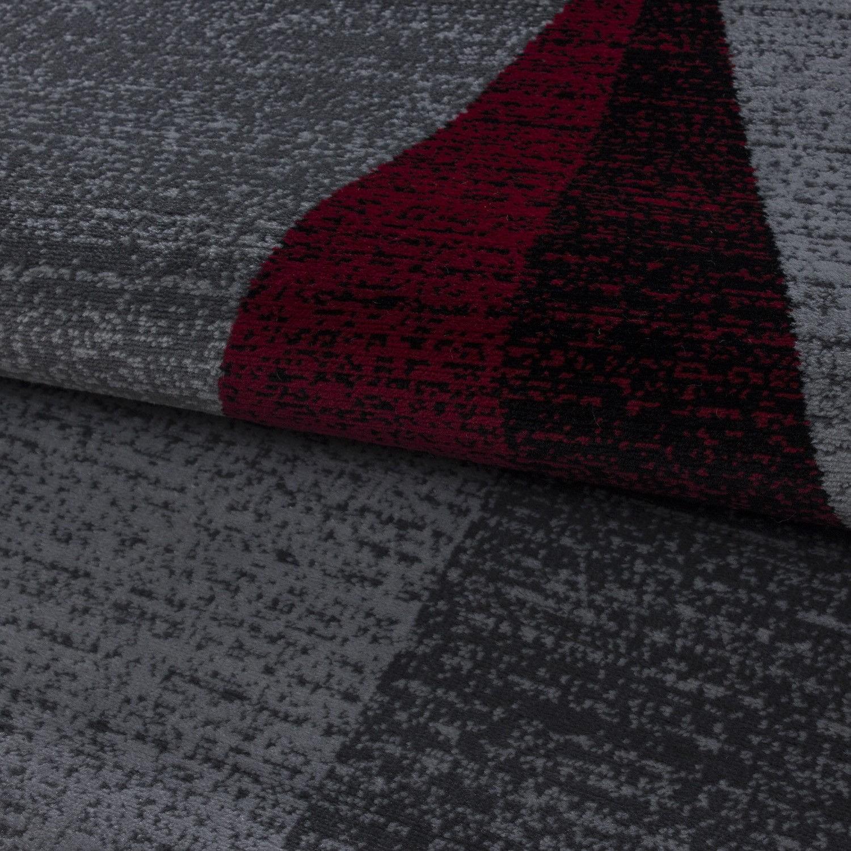Tapis contemporain gris et rouge en polypropylène Markus