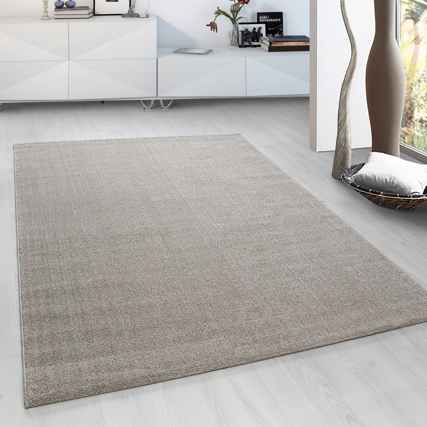 tapis courtes mches microfibre doux taupe beige velluto - Tapis Taupe
