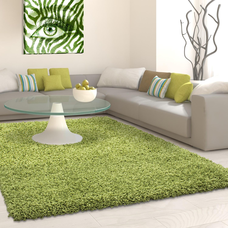Tapis shaggy vert moderne tapis design uni en polypropylène VASCO