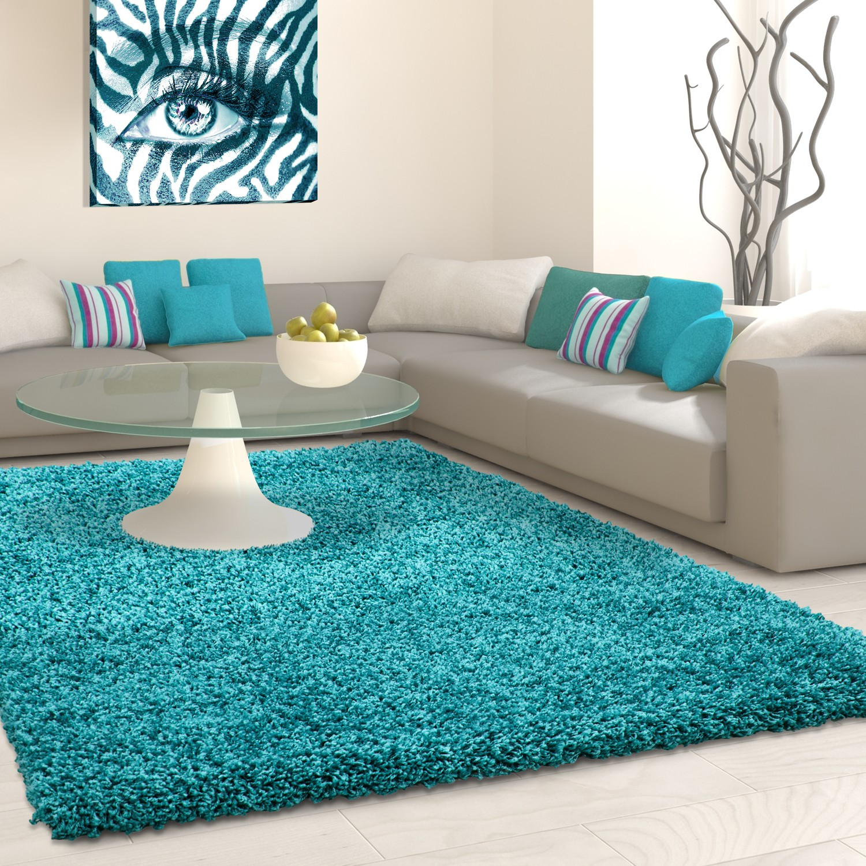 Tapis shaggy blue moderne tapis design uni en polypropylène VASCO