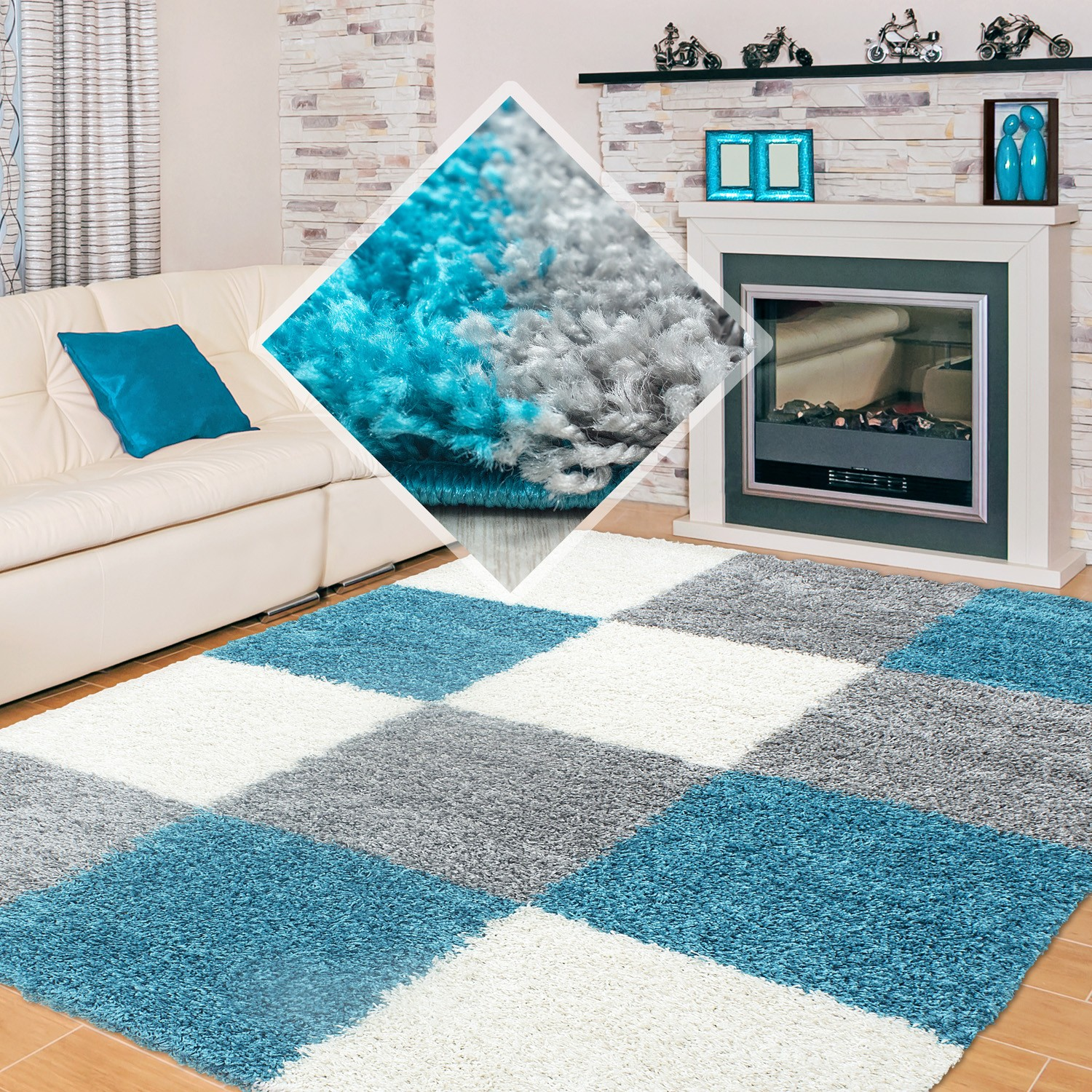 tapis shaggy longues m ches turquoise gris cream hautes carreaux pas cher. Black Bedroom Furniture Sets. Home Design Ideas
