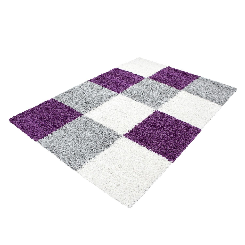 Tapis shaggy longues mèches violette gris cream hautes Carreaux pas cher