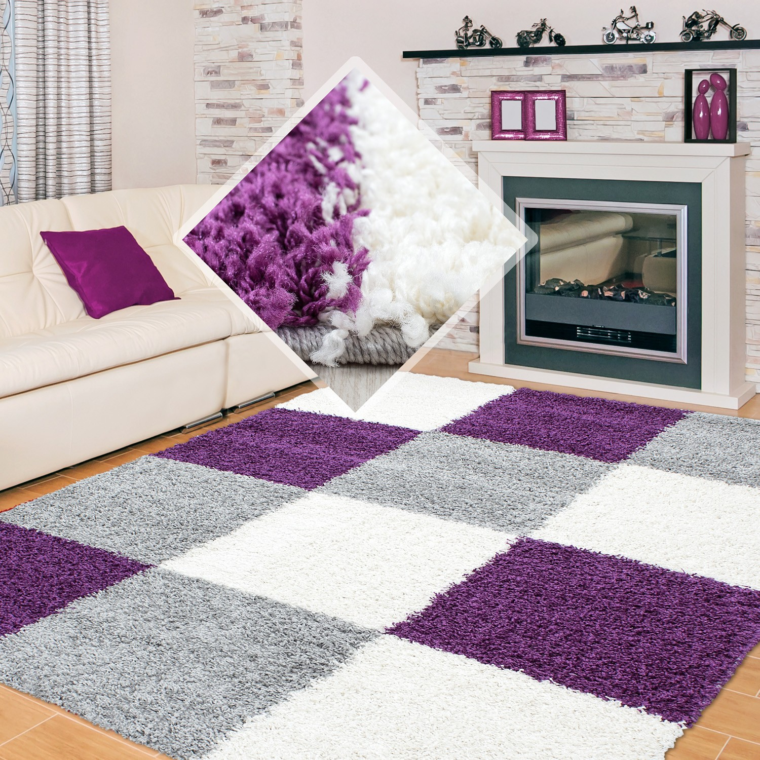 tapis shaggy longues m ches violette gris cream hautes carreaux pas cher. Black Bedroom Furniture Sets. Home Design Ideas
