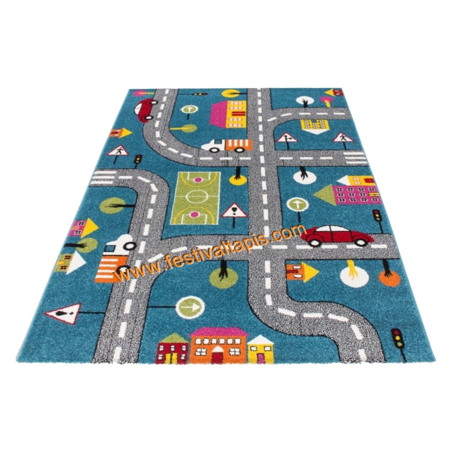 tapis pour enfant motif play moderne route bleu vert gris pas cher. Black Bedroom Furniture Sets. Home Design Ideas