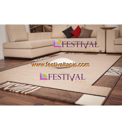 tapis contemporain d 39 int rieur couleur beige et marron lord. Black Bedroom Furniture Sets. Home Design Ideas
