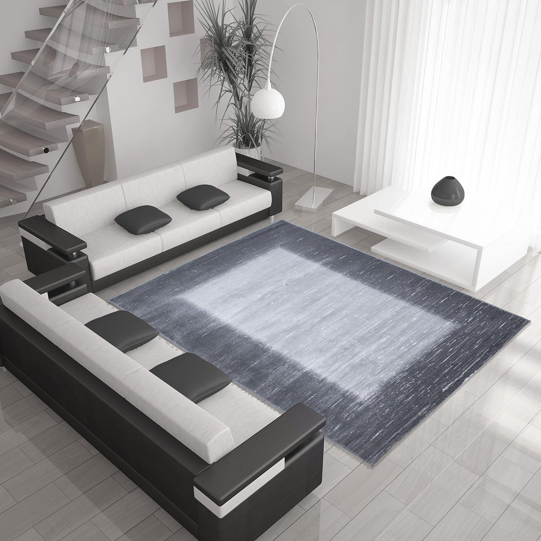 Tapis de salon en polypropylène gris - noir Neo Pas cher