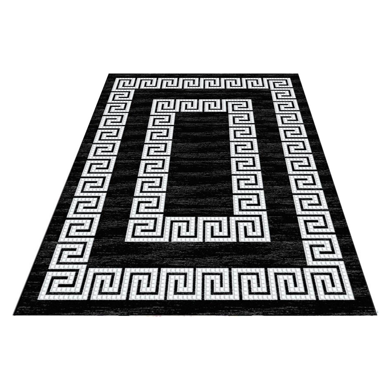 tapis motifs baroque noir de salon neo pas cher. Black Bedroom Furniture Sets. Home Design Ideas