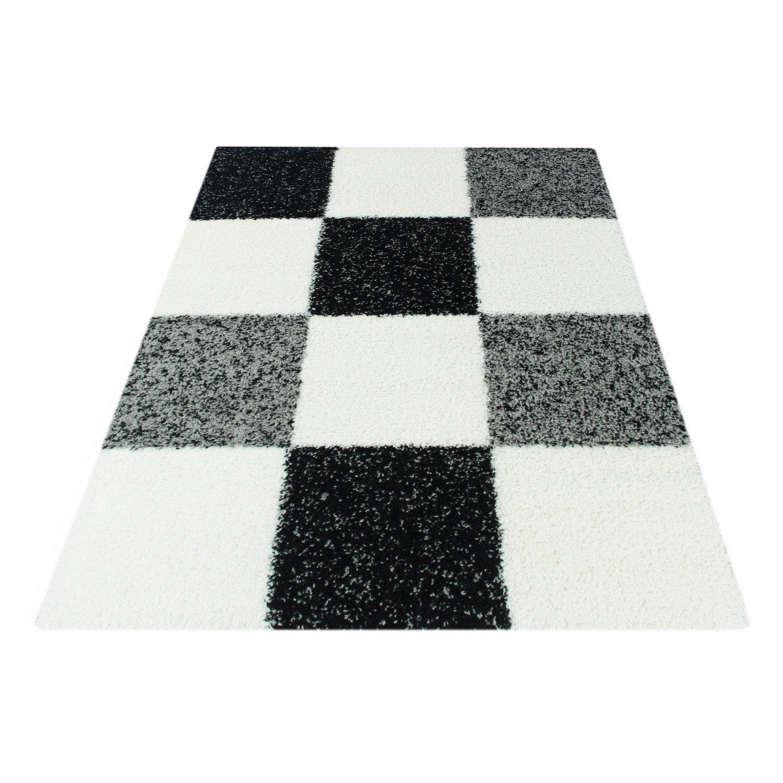 tapis shaggy longues mches noir blanc gris hautes carreaux - Tapis Noir Et Blanc