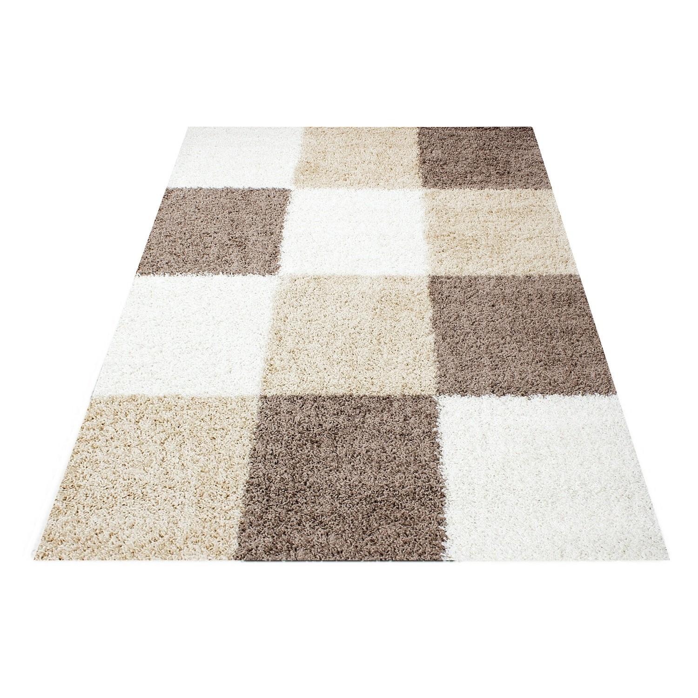tapis shaggy longues m ches brun beige cream hautes carreaux pas cher. Black Bedroom Furniture Sets. Home Design Ideas