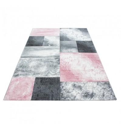 Tapis frisée effet 3D design moderne blue gris rose pink HARLEQUIN