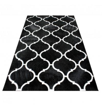 Tapis à motifs baroque noir blanc de salon Neo