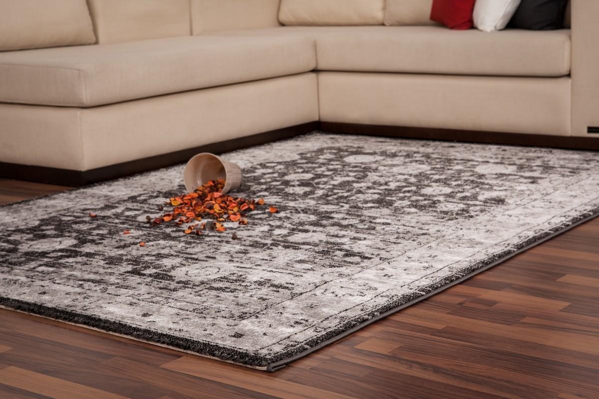 tapis vintage moderne coloris gris papilio. Black Bedroom Furniture Sets. Home Design Ideas