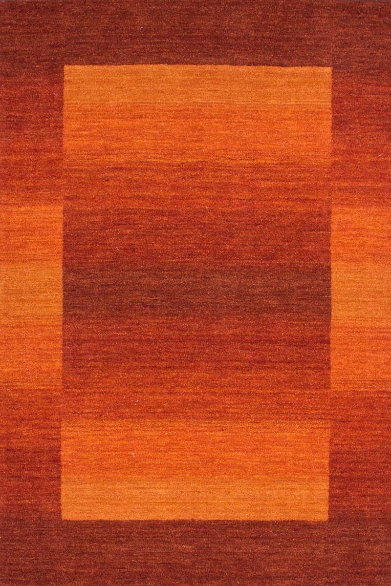 Tapis Salon Orange Et Marron : Tapis laine fait à la main coloris orange gamma