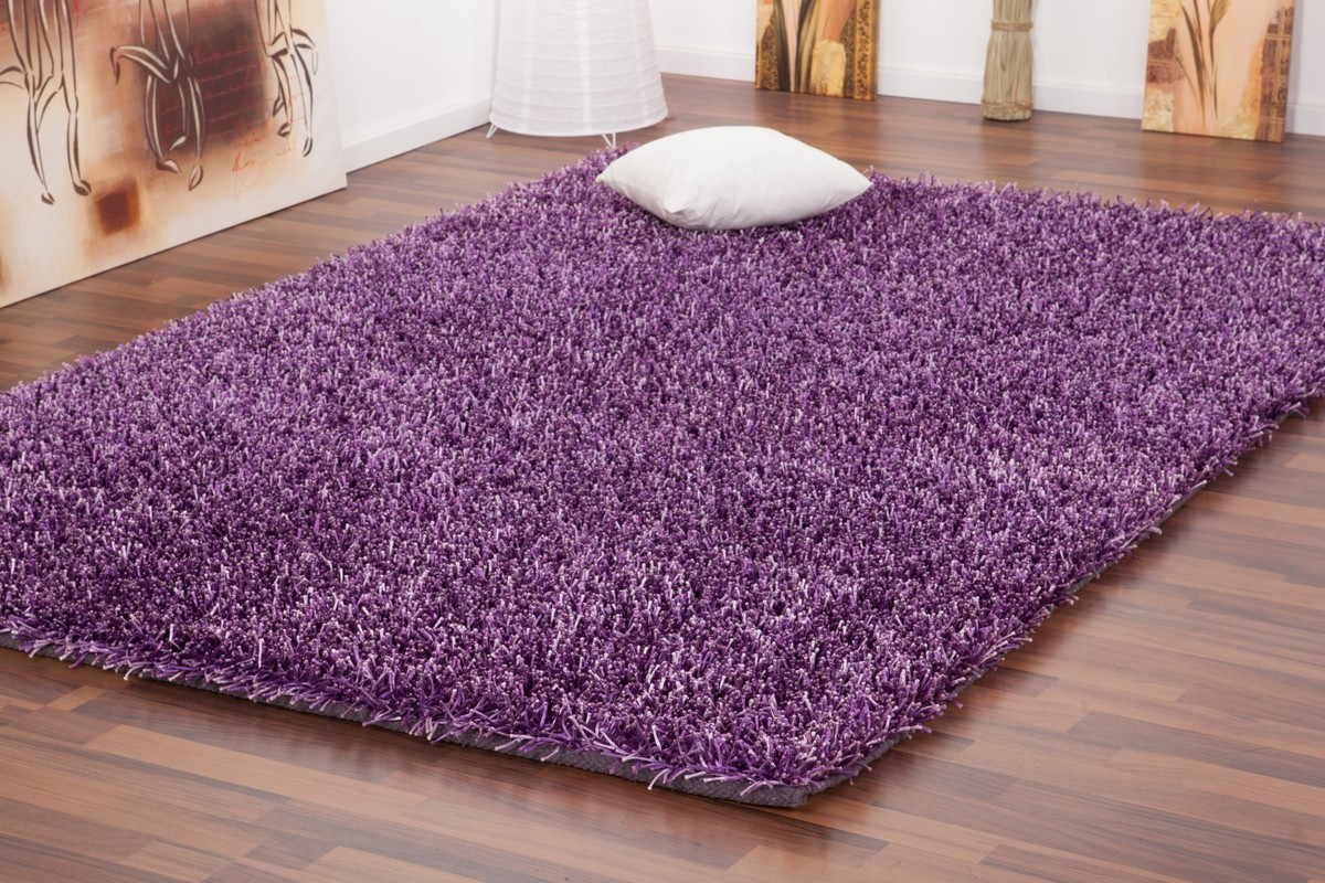 tapis shaggy tiss la main coloris mauve design. Black Bedroom Furniture Sets. Home Design Ideas
