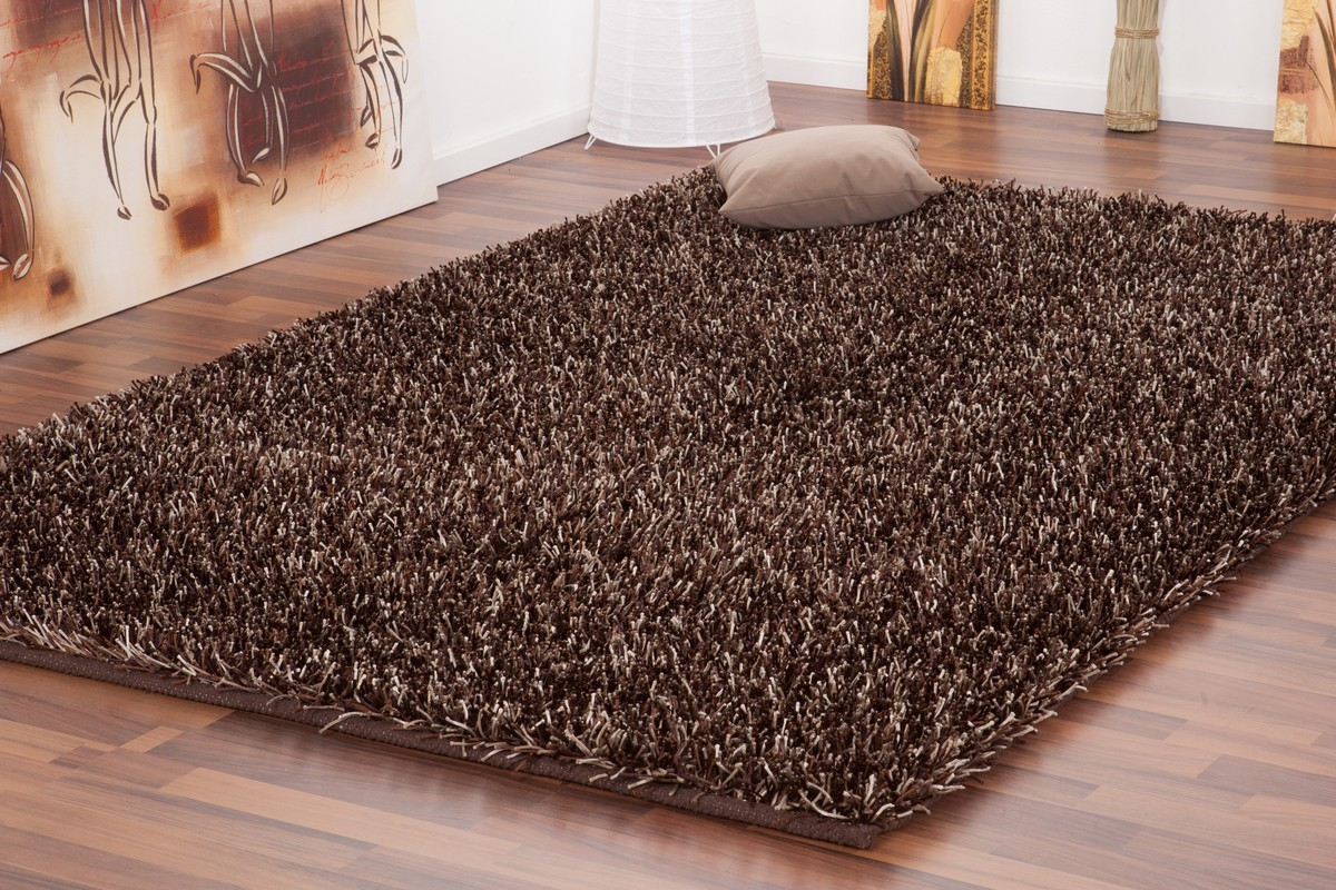 tapis shaggy tiss la main coloris brun design - Tapis Marron