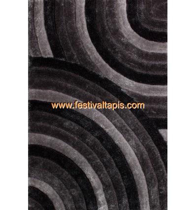 Tapis Shaggy effet 3D coloris gris motif cercle MODEL
