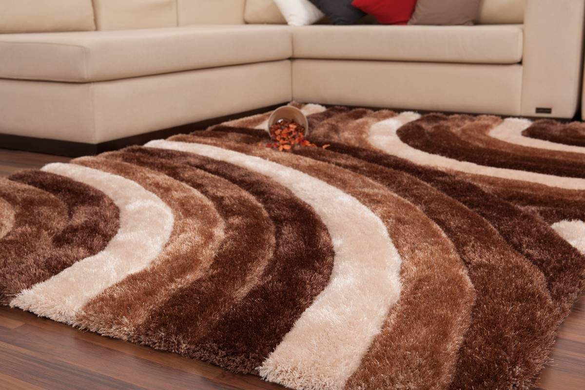 tapis shaggy effet 3d coloris beige motif cercle modele. Black Bedroom Furniture Sets. Home Design Ideas