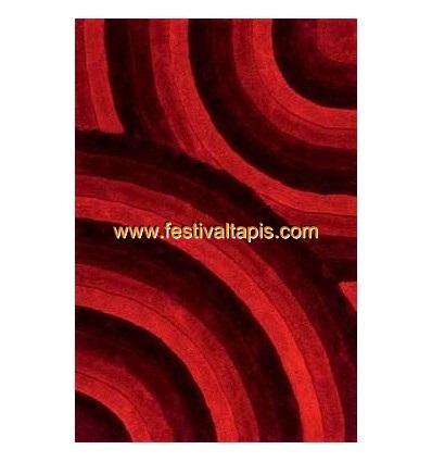 Tapis Shaggy effet 3D coloris rouge motif cercle MODELE