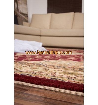 Tapis classique motif persan rouge et beige BRUXELLES