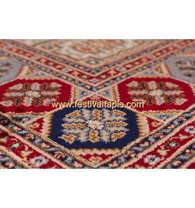 Tapis d'Orient motif carré coloris rouge FABRIS