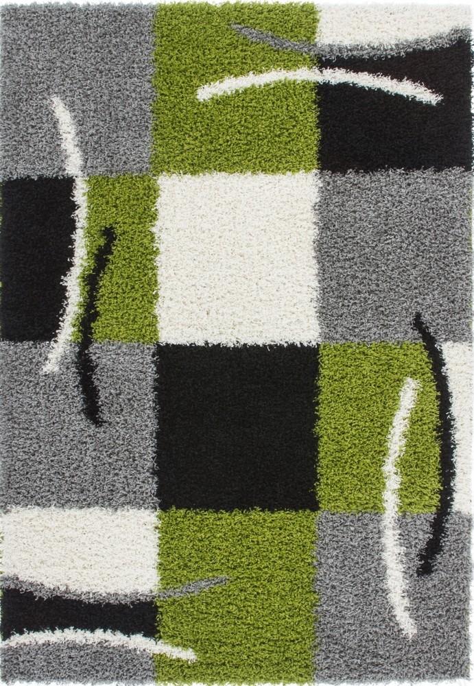 Tapis shaggy moderne avec motif coloris gris vert jiva pas cher - Tapis shaggy blanc pas cher ...