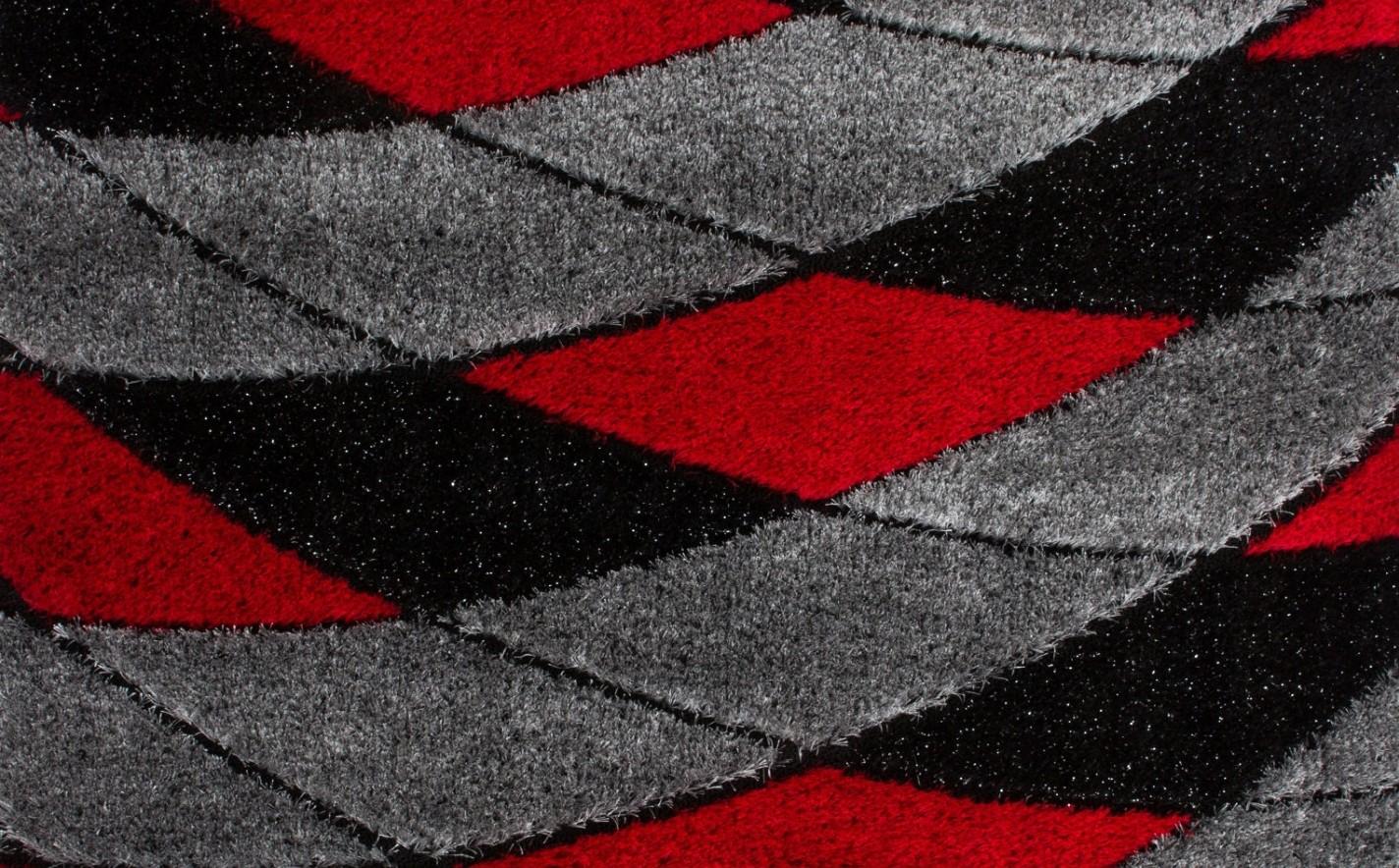 tapis shaggy moderne pars m de lurex coloris rouge noir funky pas cher. Black Bedroom Furniture Sets. Home Design Ideas