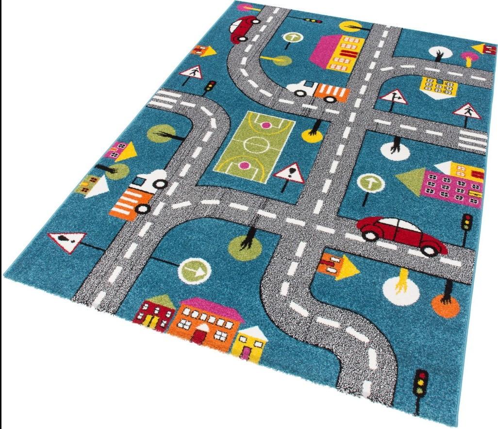 Tapis Pour Enfant Motif Play Moderne Route Bleu Vert Gris