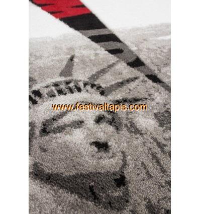 """Tapis heatset design """"Statue de la liberté"""" coloris gris et rouge tapis salon, tapis de salon, tapis salon pas cher, tapis de salon pas cher, tapis pour salon, tapis salon design, tapis pour salon pas cher, tapis moderne salon"""