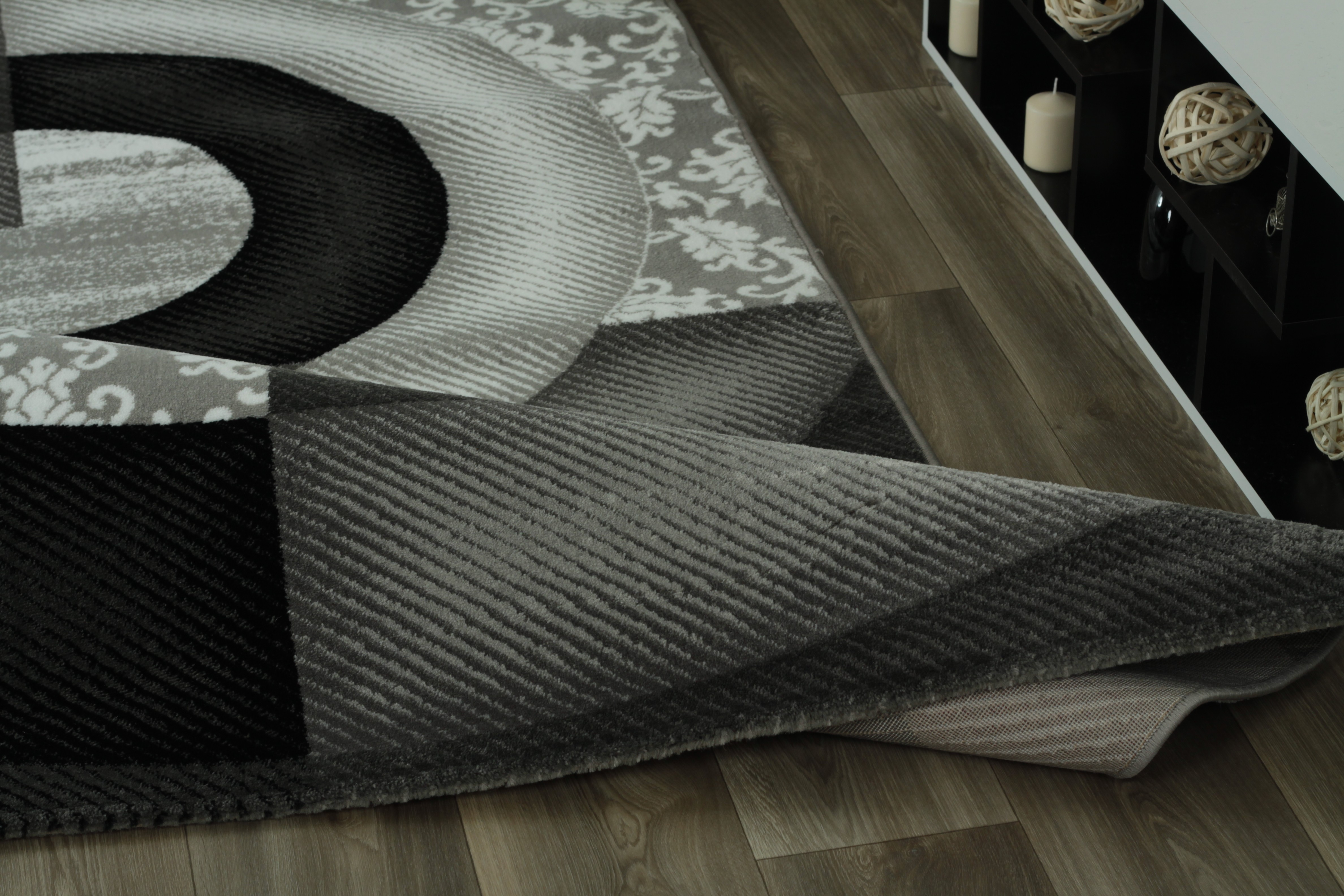 Tapis de salon design rectangulaire courtes m ches gris for Tapis de salon design