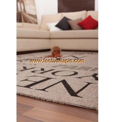 Tapis à effet sisal avec imprimé métropole coloris marron tapis contemporain, tapis contemporain pas cher, tapis contemporains, tapis design contemporain, tapis contemporain design, tapis salon contemporain, tapis en laine contemporain