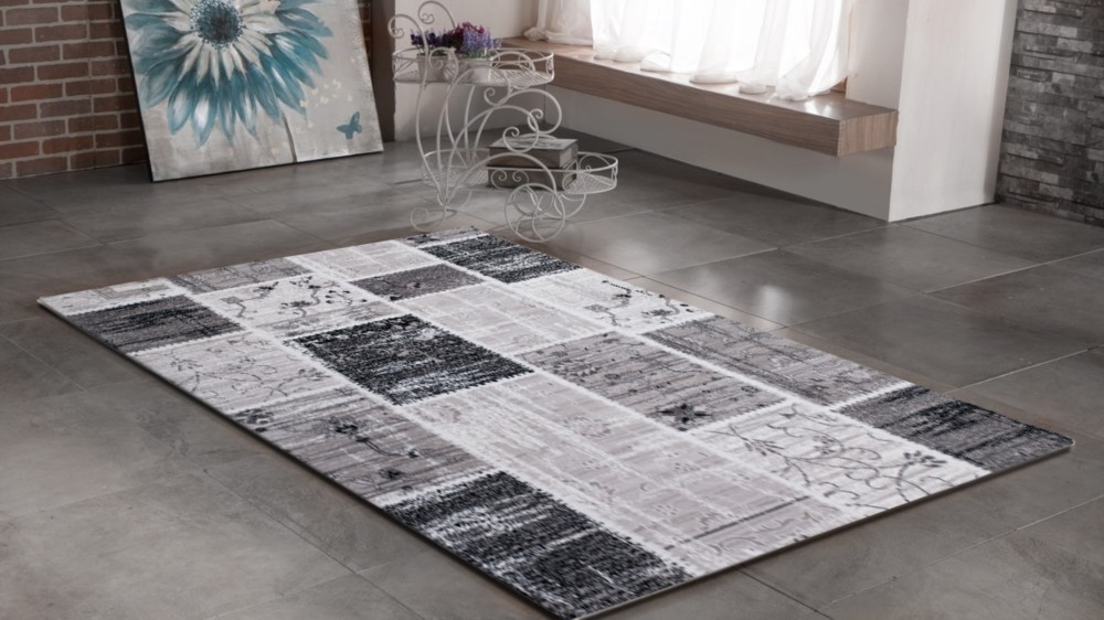 Tapis Gris Noir Design Contemporain Firenze 3
