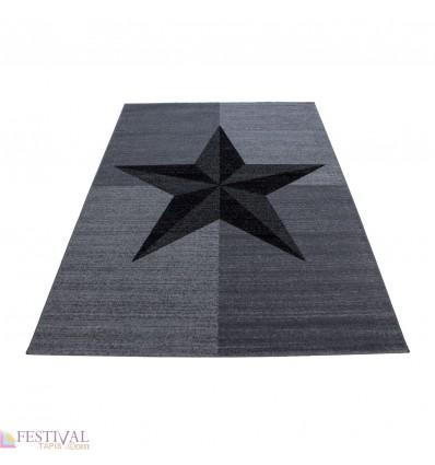 Tapis design star etoile gris noir à courtes mèches Markus