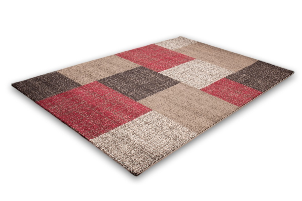 Tapis patchwork ton de rouge marron beige et blanc lord for Tapis de salon gris et beige
