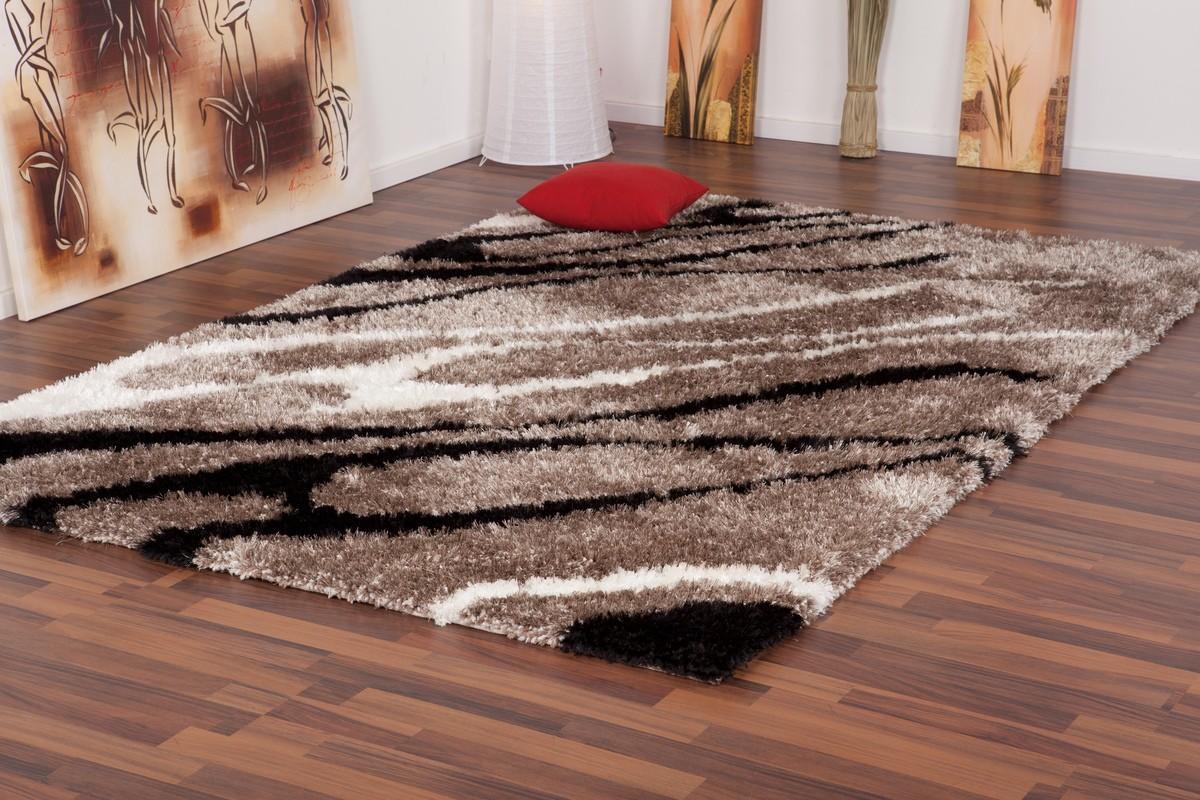 Tapis shaggy design motif beige tr s doux nobel - Tapis shaggy blanc pas cher ...
