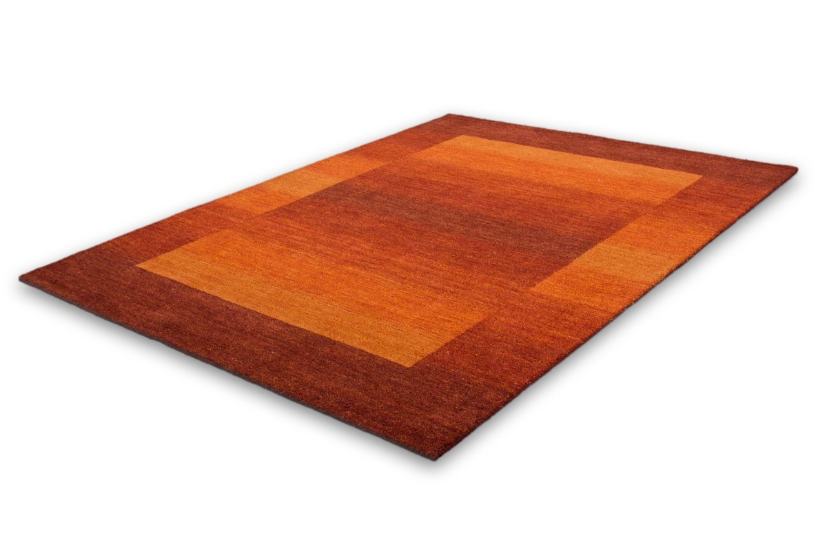 Tapis 100 Laine Fait La Main Coloris Orange Gamma
